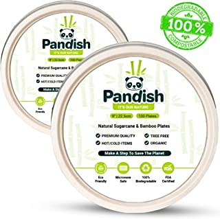 Compostable Biodegradable 9 Inch Plates – 100 Pk – Byproduct of Organic Bamboo and Sugarcane – 100% Eco-Friendly Alternative to Disposable Plastic/Paper Plates - FDA Approved – Pandish