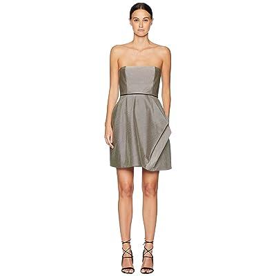 Halston Heritage Striped Strapless Dress w/ Folded Drape (Black/Chalk Stripe) Women