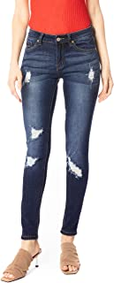 Kan Can Women`s Mid Rise Destroyed Skinny Jeans KC8001HRD