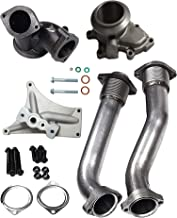 BLACKHORSE-RACING Powerstroke Turbo Diesel Hardware Exhaust Manifold Bellowed Up Pipe with Turbo Pedestal Exhaust Housing Up Pipes for 1999-2003 Ford F-250 F-350 E-350 7.3L