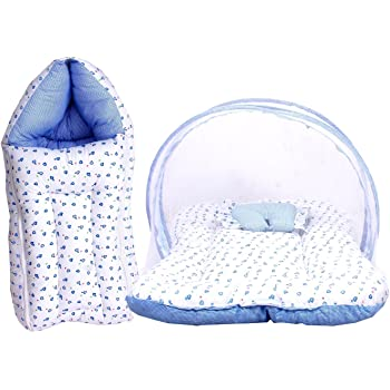 Toddylon Baby Mattress with Mosquito Net and Sleeping Bag Combo (0-6 Months; Blue)