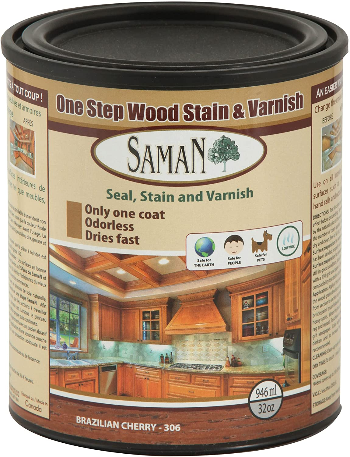 SamaN Interior One Step Wood Seal –Oil and B Large-scale sale Varnish Long-awaited Stain