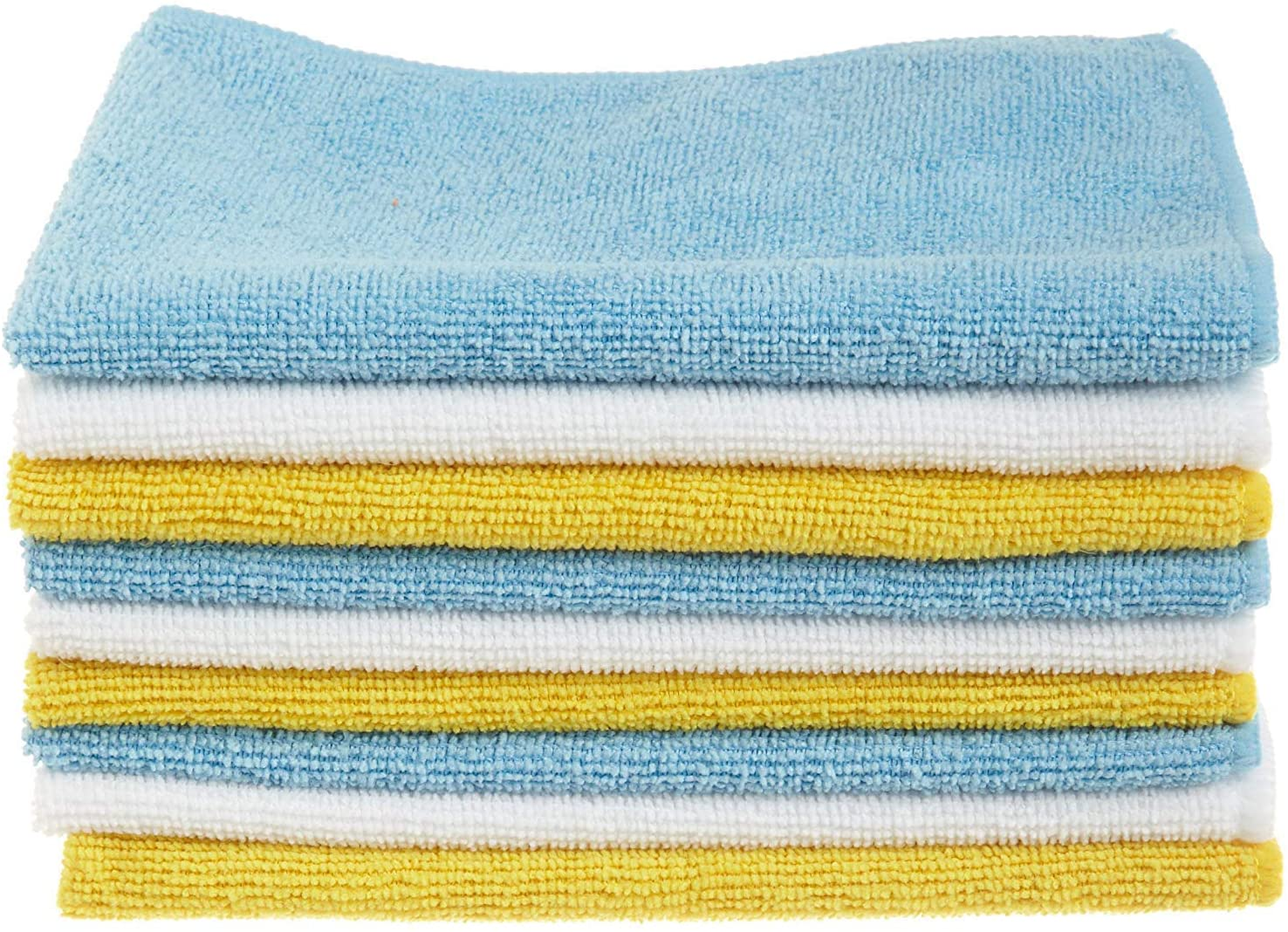 Amazon Basics Blue, White, and Yellow Microfiber Cleaning Cloths - Pack of 24