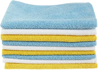AmazonBasics Blue, White, and Yellow Microfiber Cleaning Cloth – Pack of 24