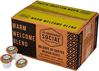 Neighborhood Social, Warm Welcome Blend Medium Roast Gourmet Coffee, 80 count Single Serve Cups