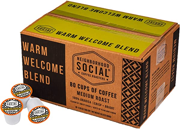 Neighborhood Social Warm Welcome Blend Medium Roast Gourmet Coffee 80 Count Single Serve Cups