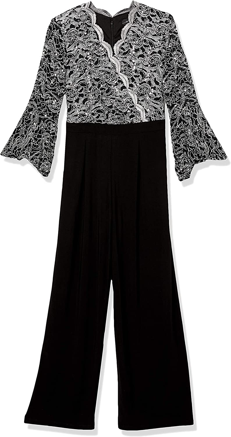 R&M Richards Women's Plus Size Missy One Piece Two Tone Bell Sleeve Jumpsuit