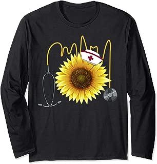 Nurse Sunflower Heartbeat Gift Design For Nurses Long Sleeve T-Shirt
