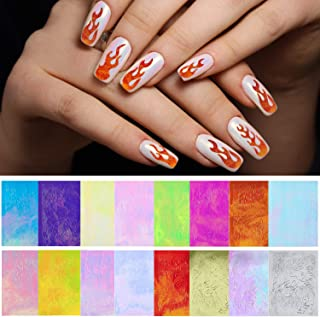 Adoreu 500+ Patterns Flame Reflections Nail Stickers Holographic Fire Flame Nail Art Decals 3D Nail Tape Adhesive Foils Stickers for Women Girls Kids DIY Nail Design Manicure (16 Sheets)