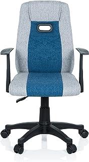 hjh OFFICE 670931 Barn skrivbordsstol KIDDY extra tyg grå-blå snurrstol ergonomisk med armstöd