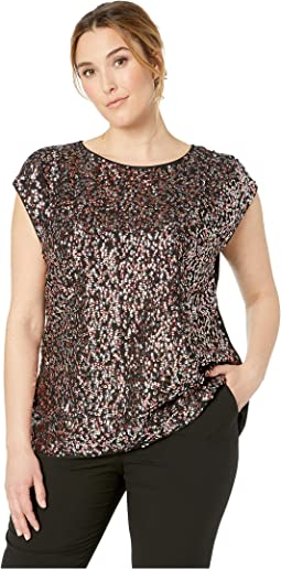 Plus Size Extend Shoulder Multi-Sequin Mesh Mix Media Blouse