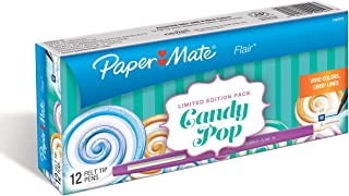 Paper Mate Flair Felt Tip Pens, Medium Point, Limited Edition Candy Pop Pack, Box of 12 (1982970)