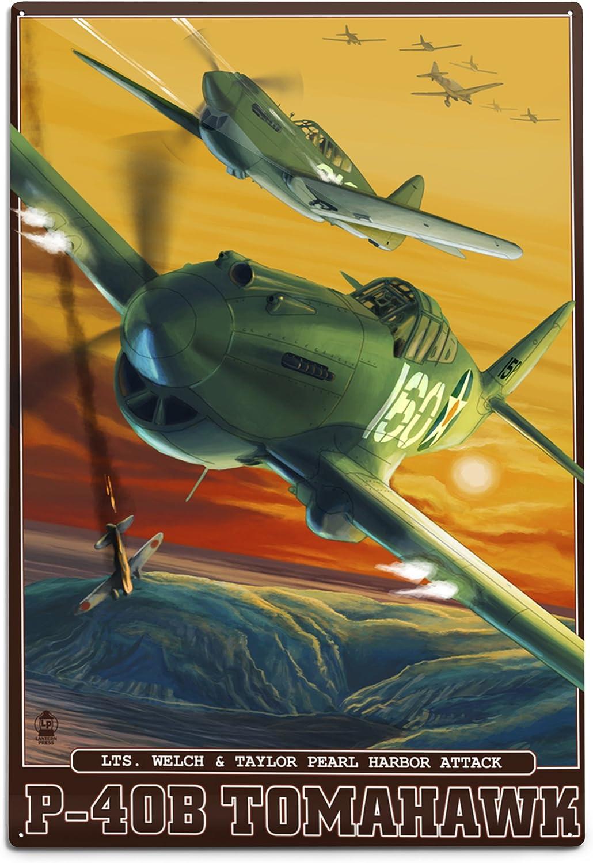 Regular store Brand new Lantern Press Pearl Harbor Hawaii Tomahawks P-40B Alumi 12x18