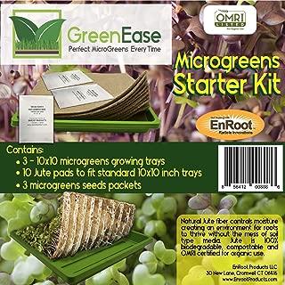 GreenEase Microgreens Starter Kit – 10 Organic Certified Jute Grow Pads, 3 BPA Free Low Profile 10x10 Trays for Easy Harvesting and 3 Packs of Microgreens Seeds