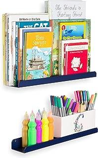 Wallniture Sedona Wall Mounted Floating Shelves for Nursery Decor Kid's Room Bookshelf Display Picture Ledge Navy Set of 2
