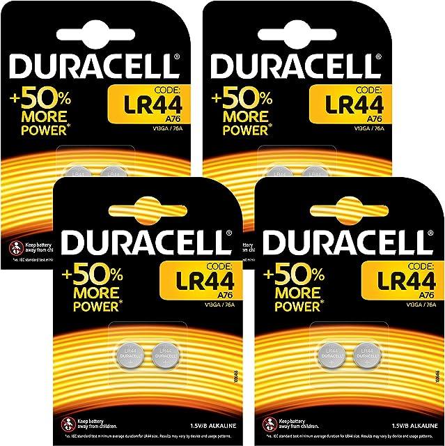 Duracell - Pilas especiales alcalinas de botón LR44 de 1.5V paquete de 8 unidades (76A/A76/V13GA) diseñadas para su uso en juguetes calculadoras y dispositivos de medición [Amazon Exclusive]