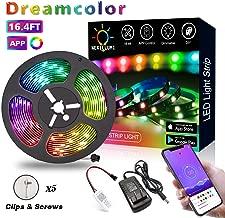 Dreamcolor Pixel LED Strip Lights, 16.4ft/5M APP Control Dreamcolor LED Chasing Pixel Light, Non-Waterproof 12V 5050 RGB Color Changing Rope Light Kit, Flexible Led Strip Lighting for Home Kitchen