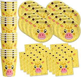Giraffe Birthday Party Supplies Set Plates Napkins Cups Tableware Kit for 16