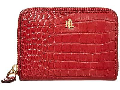 LAUREN Ralph Lauren Mini Croc Embossed Small Zip Wallet (Red) Handbags