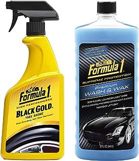 Formula 1 615258 Black Gold Tire Shine (680 ml) with Wash and Wax (946 ml) Combo