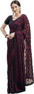 Womanista ಸ್ಯಾಟಿನ್ ರವಿಕೆ ಪೀಸ್ ಸೀರೆಯೊಂದಿಗೆ (TI1223_ ಬರ್ಗಂಡಿ_ ಒನ್ಸೈಜ್)
