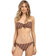 Michael Kors - Deco Hexagon Tie Front Bandeau w/ Cups and Side Tie Bottoms