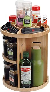 Bamboo 360 Rotating Spice Rack & Adjustable Multi Level Kitchen Organizer with Holder for Utensils, Spatulas, Serving Spoons & Other Cooking Tools