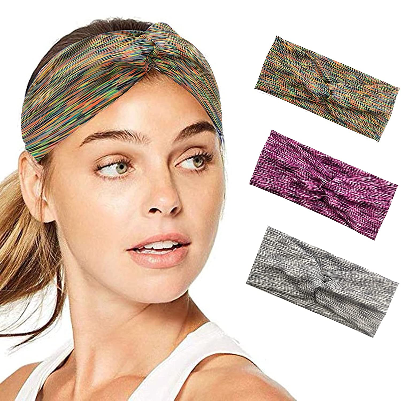 YOHOTA 3 Pack Women's Yoga Running Headbands Sports Workout Hair Bands (Rainbow Color, Gray Flower, Purple Flower)