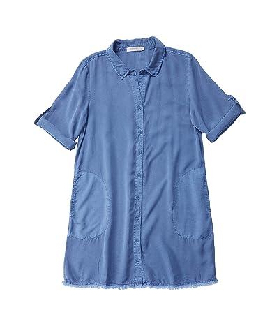 Mod-o-doc Tencel Twill A-Line Button Front Dress with Frayed Hem