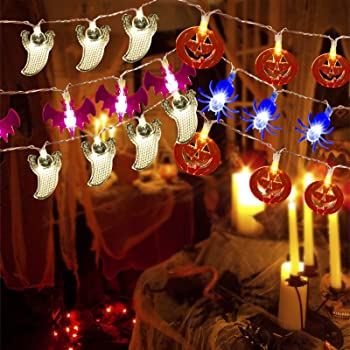 V-TECHOLOGY Halloween String Light ,7.5Ft Pumpkin Light Bat Ghost Spider String Decorations Lights String with 20 LED for Indoor/Outdoor Halloween Party Decor Battery Operated