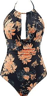 Womens One Piece Swimsuit Tummy Control Monokini Swimwear V Neck Bathing Suit
