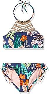 Hobie Girls' Big High Neck Halter Top and Side Tie Bikini Bottom Set