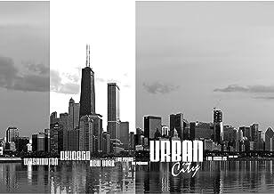 Papel Pintado Fotográfico Premium Plus fotográfico pintado–cuadro de pared–Chicago New York las vegas skyline Texto Negro de color blanco Agua–No. 281, schwarz, weiß, 254x184cm Blueback Papier
