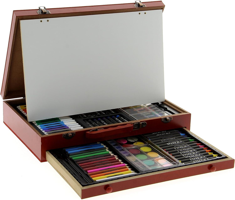 Akor Koffer aus Holz mit Zeichen und Malerei, 112 Teile