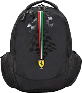 "Ferrari Silver Horse Black Backpack 18"" Bp, For Boys"
