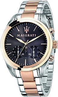 ساعة بمينا بني وسوار من الستانلس ستيل بلونين للرجال، طراز R8873612003 من مازيراتي