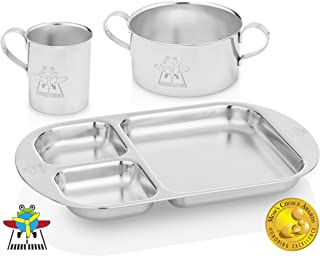 Kiddobloom Baby Stainless Steel Dinnerware Set, Airplane (1 Baby Bowl, 1 Baby Cup, 1 Baby Divided Plate). Beautiful Keepsake for Baby, Toddler, and Kids. Baby Led Weaning.