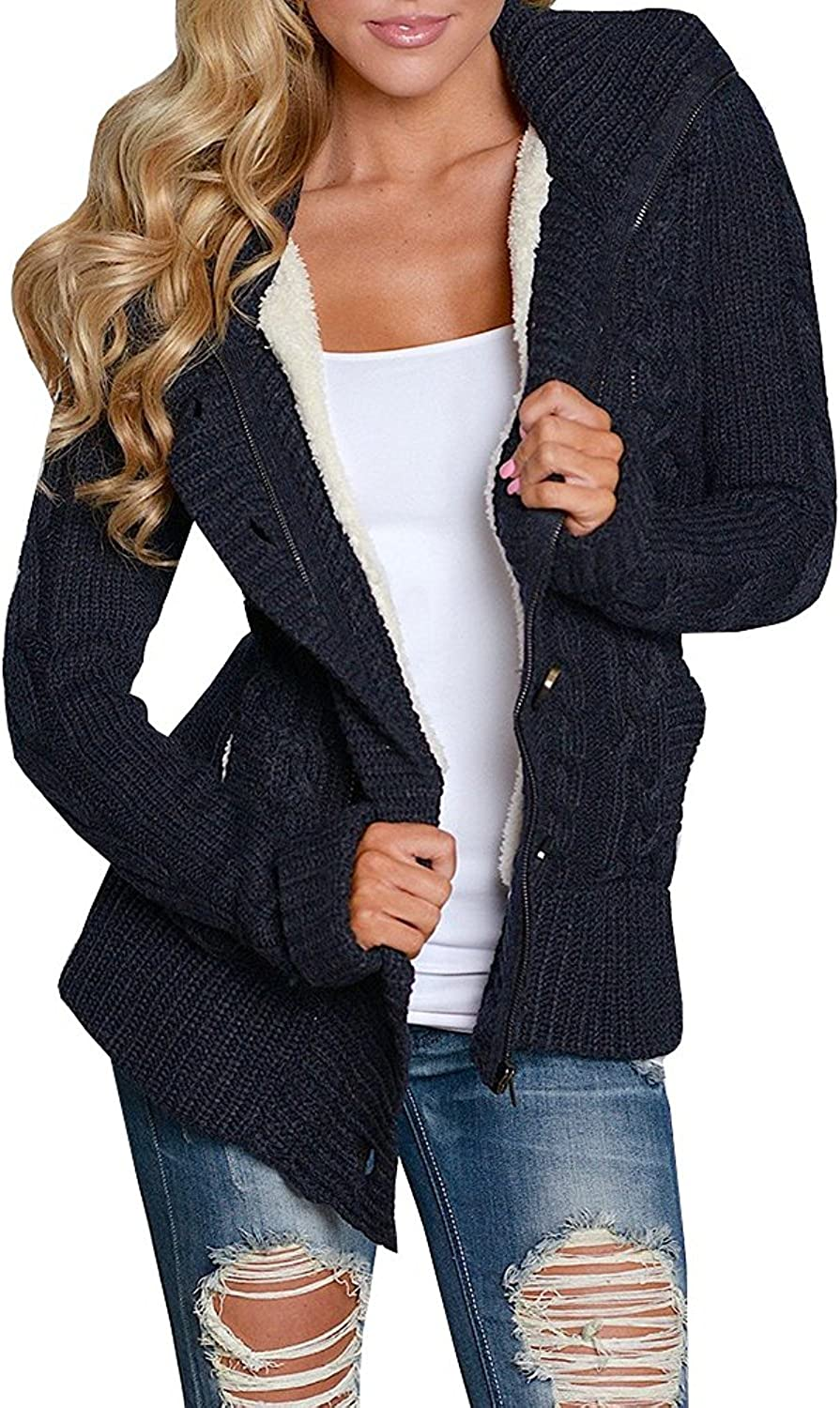Enjoybuy Womens Cable Knit Cardigan Sweaters Hooded Sherpa Lined Open Front Buttons Closure Outerwear