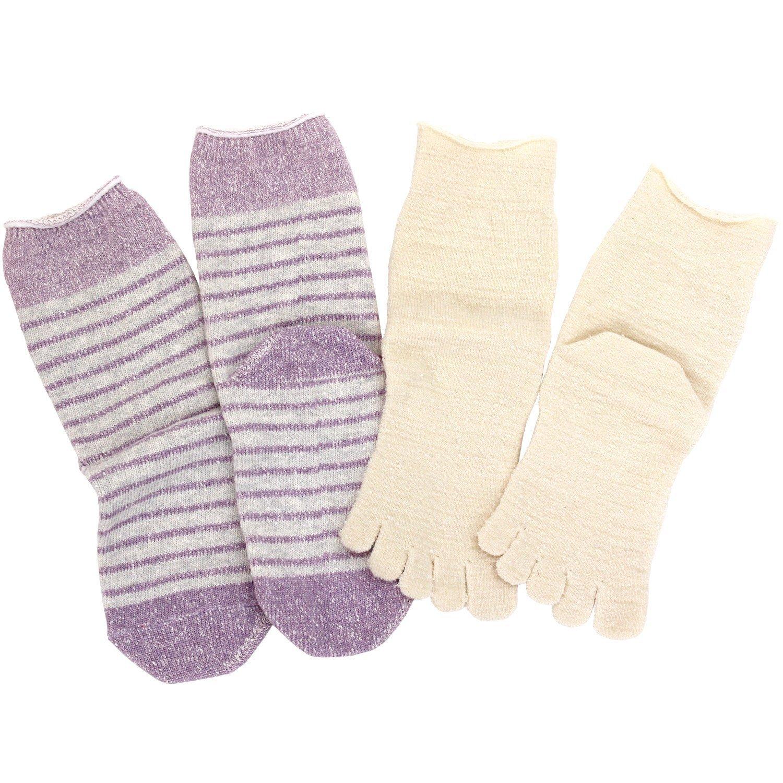 hiorie(ヒオリエ) 日本製 冷えとり靴下 内絹外綿 5本指 ソックス ボーダー柄 <Lサイズ> 2足セット シルク