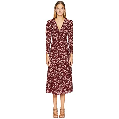 Rebecca Taylor Long Sleeve Tilda V-Neck Dress (Burgundy Combo) Women