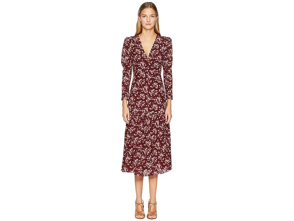 Rebecca Taylor Long Sleeve Tilda V-Neck Dress (Burgundy Combo) Women