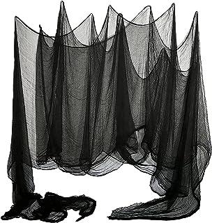 LessMo Halloween eng gaas, 2x5m zwarte decoratie doek, Halloween griezelige doek voor spookhuis, Halloween Party, draperen...