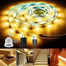 مستشعر الحركة تحت شريط أضواء الخزانة، ضوء ليد خزانة 9.84FT أضواء ليلية LED تحت خزانة معدات الإضاءة (3000K أبيض دافئ) إضاءة...