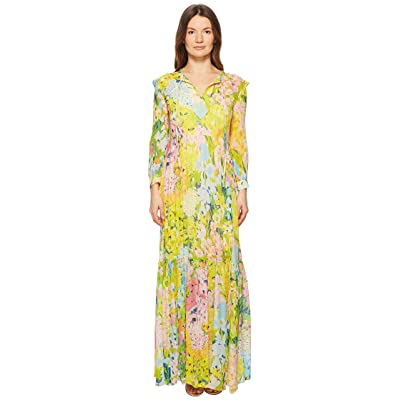 Boutique Moschino Flower Printed Creponne Maxi Dress (Fantasy Print Yellow) Women