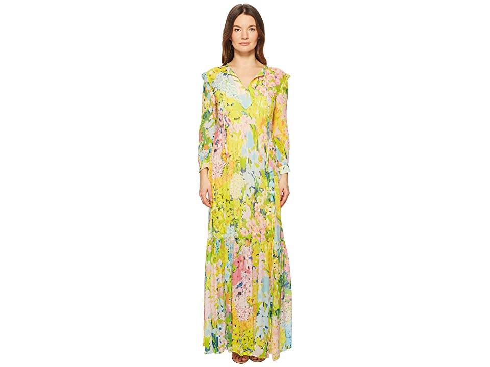 Boutique Moschino Flower Printed Creponne Maxi Dress (Fantasy Print Yellow) Women