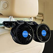 Car Fan Electric Car Fans for Rear Seat Passenger Portable Car Seat Fan 360 Degree Dual Head Rotatable Back Seat Car Fan 12V Cooling Air Fan with Stepless Speed Regulation for SUV, RV, Van, Vehicles