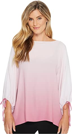 Long Sleeve Ombre Echo Tie Cuff Blouse