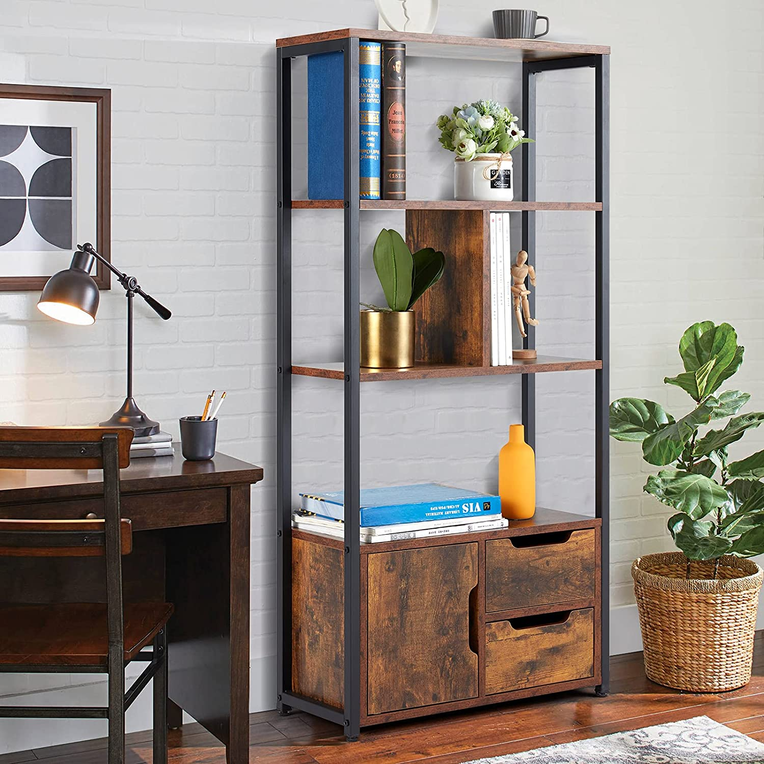 AVAWING Bookshelf with Cabinets, 3 Tier Industrial Book Shelves Vintage Wood Bookcase with Metal Frames, Multifunctional Furniture for Entryway Living Room Bedroom Home Office