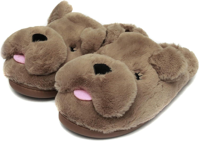 Friendly House Winter Indoor Animal Dog Slippers for Women, Novelty Bulldog Slippers
