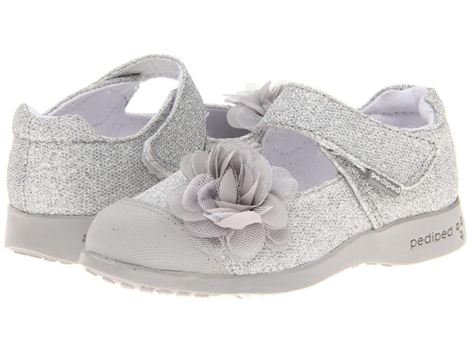 pediped Estella Flex (Toddler/Little Kid) (Silver Synthetic) Girls Shoes